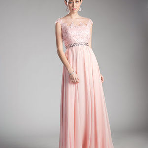 Blush Sleeveless Evening Long Dress